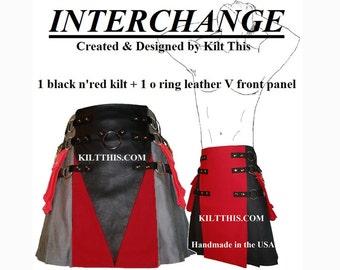 Interchangeable Black Red 10oz Canvas Snap Utility Kilt plus O Ring Leather V Gear Design Set Adjustable Custom Fit with Large Cargo Pockets