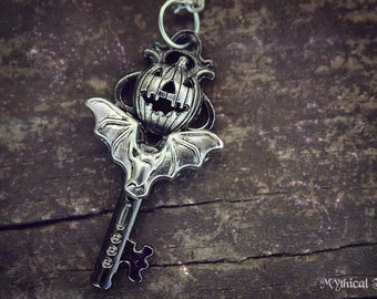 Pumpkin King Queen Key Charm Necklace