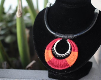 Faux Leather Cord Thread Tribal/Etcnic Statment Necklace