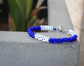 Santorini Macramé Minimalist Kumihimo Stackable Blue and White Magnetic Bracelet