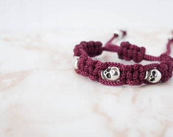 Skull Charm Red/Wine and Silver Macramé Minimalist Stackable Bracelet
