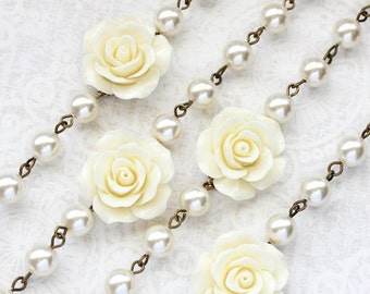 Cream Rose Bracelet Bridesmaids Gifts Flower Ivory Pearl Bracelet Country Chic French Romantic Wedding Jewelry Vintage Style Adjustable Size