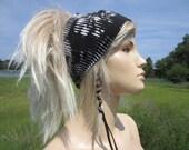BOHO Headband WIDE Knit Hair band Yoga Hair Wrap Black &White Printed Turban  A1566