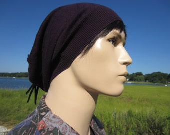 Men's Cashmere Hats Slouchy Beanie Purple Light Weight Beret Leather Back Tie Top Hats Hipster BOHO Clothing A49