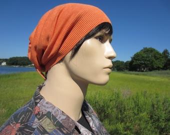 Lightweight Knit Hats Slouchy Beanie Orange Cotton Knit Men's Bohemian Clothing Tie Back Hats A1299