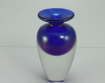 Vintage R. Held Robert Held Signed Collectible Art Glass Blown Glass Perfume Bottle Small Vase Iridescent Cobalt Blue