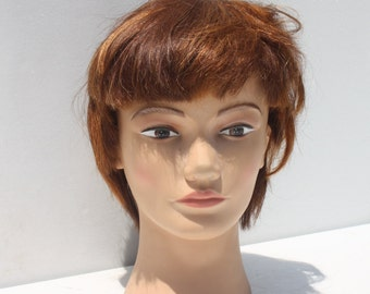Vintage Mannequin Head Display Cosmetology Human Hair Halloween Haunted House Decor Pivot Point (4)