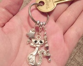 Silver cat and star, key chain, charm, bag charm