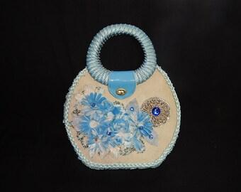 Elegant large vintage 50s 60s pale blue woven straw raffia beads sequins rhinestone flowers bombshell Tiki atomic handbag purse - Japan