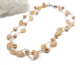 Pearl Necklace Double Strand Hand Knotted with Peach Moonstone