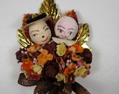 RESERVED for KP Thanksgiving Corsage Vintage Spun Cotton Pilgrims Millinery Flowers Autumn Leaves Fall Colors Decoration Hostess Gift