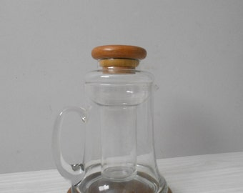 vintage modern mid century glass pitcher / ice chamber / barware / decanter
