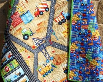 Baby Boy Quilt, Construction Bedding, Nursery Crib Blanket, Dozer, Dump Truck, Tractor, Red Blue Green, Reversible, Transportation Vehicles