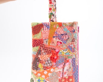 school supplies - upcycled gadget bag, zipper pouch - Recycled  Pencil case with handle -Crazy Patchwork ,Make Up Bag, colorful eco handmade