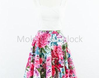 Custom made floral skirt, purple flower skirt, circle skirt. Vintage Purple Flowers skirt