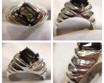 Men's ring sterling silver tourmaline
