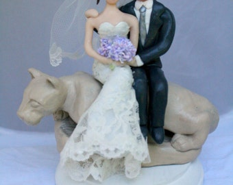 Penn State Wedding Cake Topper with Nittony Lion CUSTOMIZED to your features and attire Hand Sculpted in Clay