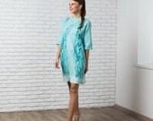 Felted mint dress with sleeves, autumn fall fashion, nuno felted dress bridesmaid wedding idea pastel blue green
