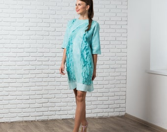 Felted mint dress with sleeves, autumn fall fashion, nuno felted dress bridesmaid wedding idea pastel blue green
