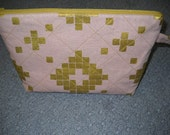 Pink and Gold Quilted Project Bag,  Zippered Wristlet,  Quilted Cosmetic Bag, Knitting Project Bag, Crochet Project Bag, Quiltsy Handmade