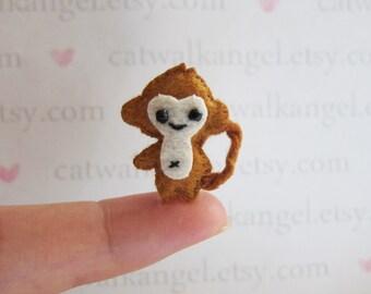 Felt Miniature - Felted Miniature Monkey - Felted Monkey - Brown Monkey felted miniature - Monkey miniature - tiny Monkey - felted Monkey