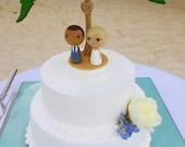 Custom Mini Kokeshi Wedding Cake Toppers with Palm Tree Base