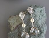 CRYSTAL RHINESTONE BRIDAL Earrings in Silver with a Rhinestone Stud Tear Drop, Swarovski Pearl, Cubic Zirconia,  Wedding, Silver/Gold