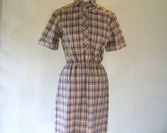 1960s Brown Plaid Shirtwaist Day Dress