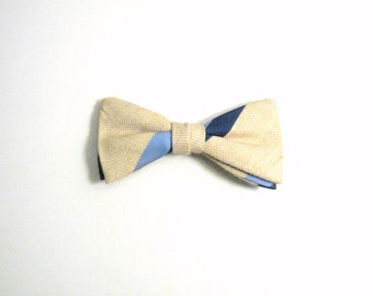 Wembley Beige & Blue Vintage Bow Tie