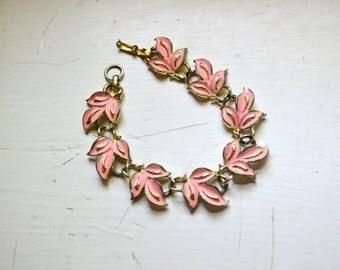 1950s Coro Pink Leaf Bracelet