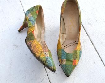 1950s Signore Ferria Print High Heels, Size 7