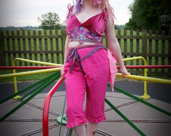Pink velvet & brocade embellished top. Circus or fairy costume. Bohemian carnival or festival clothing.