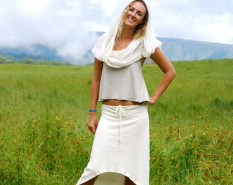 Women's Skirt - High Low Hemline - Natural Color Hemp Organic Cotton Jersey - Summer Skirt