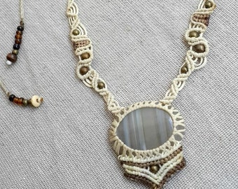 AGATE macrame necklace stone necklace white cord tribal bohemian brass beads