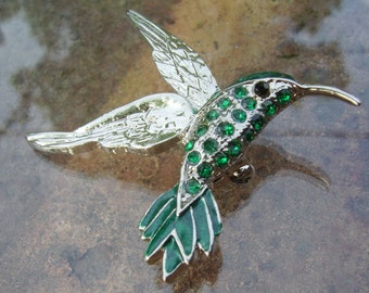 Hummingbird Pin! Green Swarovski Crystals & Green Enamel! Silver Plated Hummingbird! Beautiful Brooch! Hummingbird Lovers! Ships Free Sale!