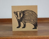 Badger, Woodland Animal, Original Hand Printed Card, Linocut Card, Blank Greeting Card, Brown Kraft Card, Free Postage in UK,