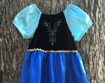 Anna Frozen Everday Dress with Gold Trim, Satin Sleeves, Skirt and Optional Cloak for Infant & Toddlers