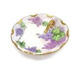 Hand Painted Lilac Floral Dish / Single Handle / German Porcelain / Artist Signed C. Durflinger  / Gold Gilt / c1920s