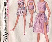 Simplicity 5425 Vintage 1960s Bra-Top Wrap Skirt Top Shorts Scarf B32