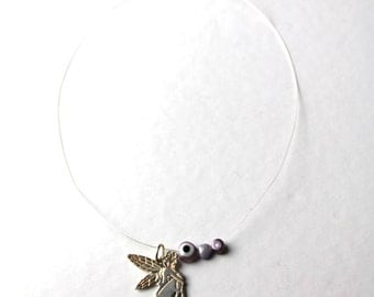 silver purple angel necklace