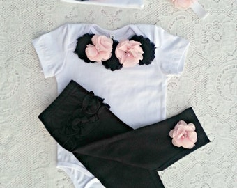 Newbornd going home Baby girl white pink black bodysuit, onesie, romper, pants & headband set, Coming home outfit 0-6 months