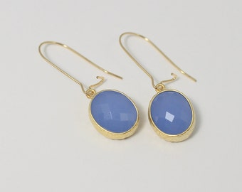Blue Earrings, Dangle Earrings, Gold Kidney Ear Wires, Bridesmaid gfit, Bridal Wedding Jewelry Blue Drop Earrings Simple Everyday Earrings
