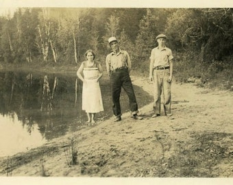 "Vintage Photo ""Pond Drifters"" Water Snapshot Photo Old Antique Photo Black & White Photograph Found Photo Paper Ephemera Vernacular - 177"
