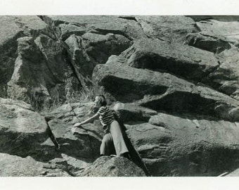 "Vintage Photo ""Overcoming Fears"" Rock Climbing Snapshot Photo Old Antique Photo Black & White Photograph Found Photo Paper Ephemera - 128"