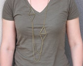 Long Brass Geometric Necklace