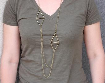 Long Brass Geometric Necklace