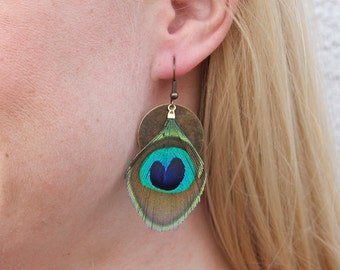 Peacock Feather and Brass Coin Earrings