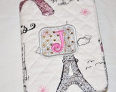 Mini Composition Note  Book with The Cover with the Initial J on Paris Themed Material  50 pages 4 1/2 inch by 3 1/4 inch Size