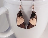 Copper Wood Jewelry SHIPS IMMEDIATELY Handmade Desert Ironwood and Handcut Hammered Copper Earrings