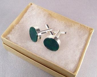 Emerald Green Cufflinks SHIPS IMMEDIATELY Green Round Cuff Links Handmade Composite Jade Cufflinks Green Wedding Groomsmen Gifts for Him